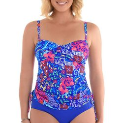 Paradise Bay Womens Mixed Floral Side Tie Tankini Top
