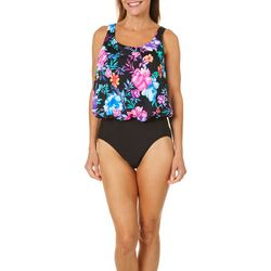 Paradise Bay Womens Floral One Piece Mastectomy Swimsuit
