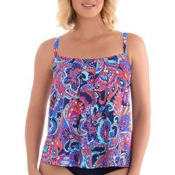 Paradise Bay Womens Paisley Print Pleated Tankini Top