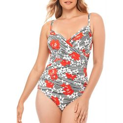Paradise Bay Womens Floral Stripe Mio One Piece Swimsuit