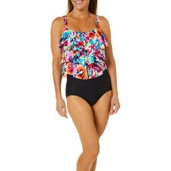 Paradise Bay Womens Floral Triple Tier One Piece Swimsuit