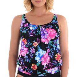 Paradise Bay Womens Gracious Floral Blouson Tankini Top