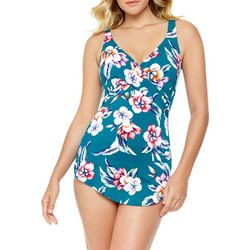 Paradise Bay Womens Tropical Sarong One Piece Swimsuit