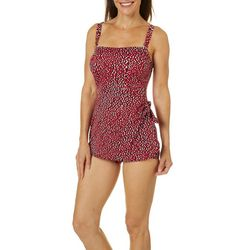 Paradise Bay Womens Leopard Sarong One Piece Swimsuit