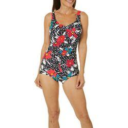 Paradise Bay Womens Floral Mio Girl Leg One Piece Swimsuit