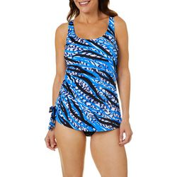 Paradise Bay Plus Side Tie Faux Tankini One Piece Swimsuit