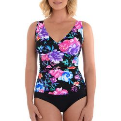 Paradise Bay Womens Floral Print Mio One Piece Swimsuit