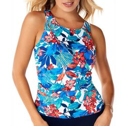 Paradise Bay Women Tropical High Neck Print Tankini Top