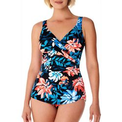 Paradise Bay Womens Surplice Sarong One Piece Swimsuit