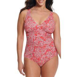 Paradise Bay Womens Paisley Print One Piece Swimsuit