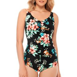 Paradise Bay Womens Floral Shirred One Piece Swimsuit