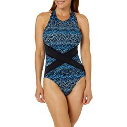 PB Sport Womens Denim Detail Mio One Piece Swimsuit