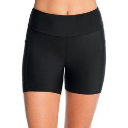 PB Sport Womens Solid Side Pocket Yoga Shorts