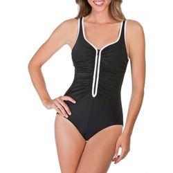 Reebok Womens Zig Zag Shirred One Piece Swimsuit