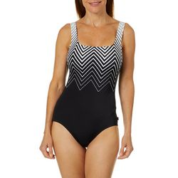 Reebok Womens Express Chevron One Piece Swimsuit