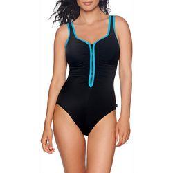 Reebok Womens Zip Front One Piece Tank Swimsuit