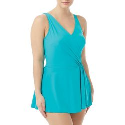 Roxanne Womens Solid Shirred Surplice Swimdress