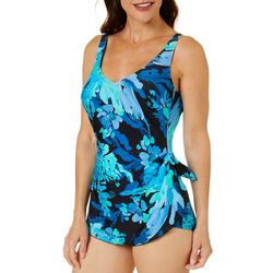 Roxanne Womens Painted Petals Sarong One Piece Swimsuit
