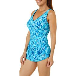 Roxanne Womens Tropical Palm Sarong One Piece Swimsuit