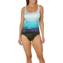 Longitude Womens Low Tide Lattice Back One Piece Swimsuit