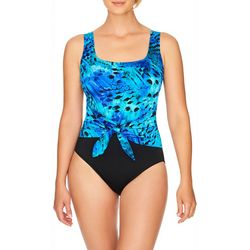 Longitude Womens Feathered Sash Tank One Piece Swimsuit