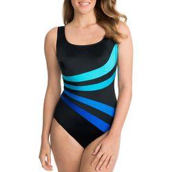 Longitude Womens Colorblock Side Stripe One Piece Swimsuit