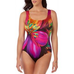 Longitude Womens Fiesta Scoop Neck One Piece Swimsuit