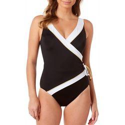 Longitude Womens Solid Side Tie Surplice One Piece Swimsuit