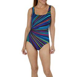 Longitude Womens Side Stripe One Piece Swimsuit