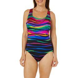 Longitude Womens Heatwave Cross Back One Piece Swimsuit