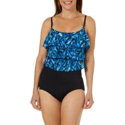 Longitude Womens Safari Guide Tiered Faux Tankini Swimsuit