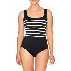 Longitude Womens Colorblock Scoop Neck One Piece Swimsuit