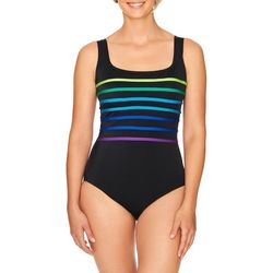 Longitude Womens Colorblock Scoop Neck One Piece Swimsuit