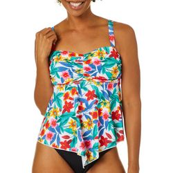 A Shore Fit Womens Tropical Floral  Hankercheif Tankini Top