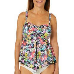 A Shore Fit Womens Bright Floral Triple Tier Tankini Top