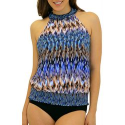 A Shore Fit Womens Sand And Sea Blouson Tankini Top