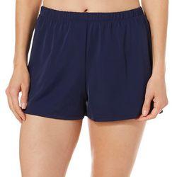 A Shore Fit Womens Elastic Waist Solid Swim Shorts