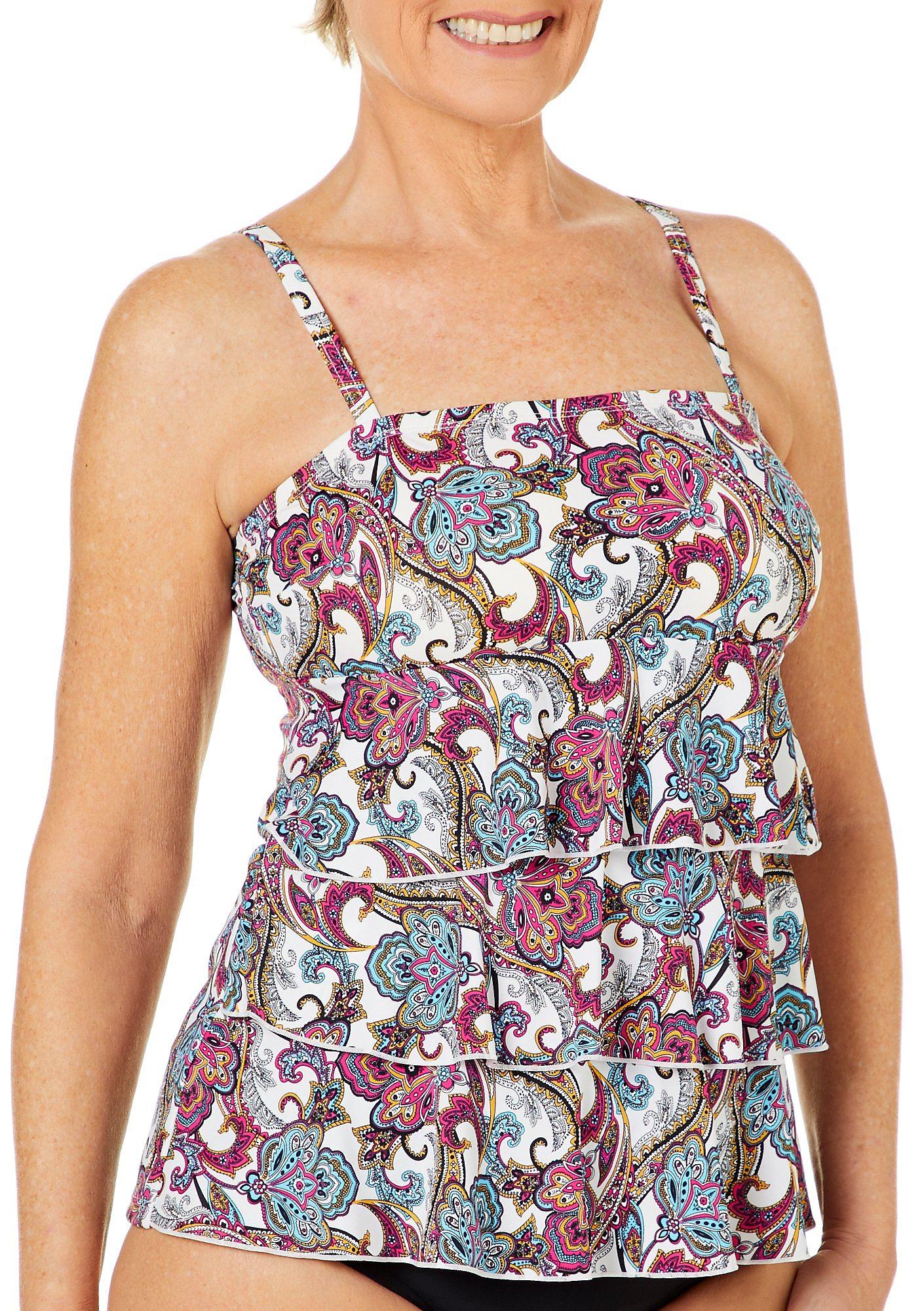 70b52de2c6 A Shore Fit Womens Paisley Print Tier Tankini Top   eBay