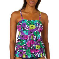 A Shore Fit Womens Floral Print Triple Tier Tankini Top
