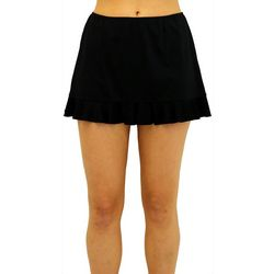 A Shore Fit Womens Solid Ruffle Trim Swim Skirt