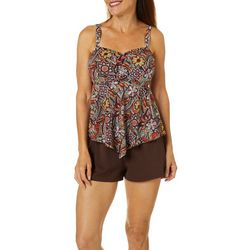 A Shore Fit Womens Paisley Spice Hankercheif Tankini Top
