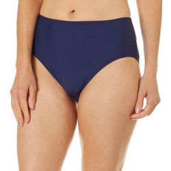Del Raya Womens Solid Mid Rise Swim Briefs