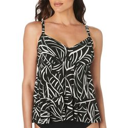 Trimshaper Womens Hard To Be Leaf Tiered Tankini Top