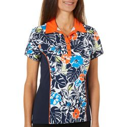Ruby Road Favorites Womens Floral Snap Up Polo Golf Shirt