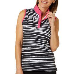 Ruby Road Favorites Womens Striped Polo Golf Shirt