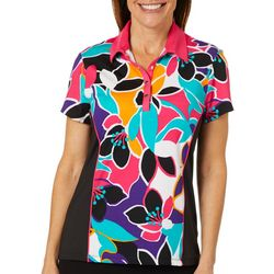 Ruby Road Favorites Womens Floral Colorblock Polo Golf Shirt