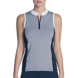 Skechers Womens Go Golf Striped Sleeveless Polo Shirt