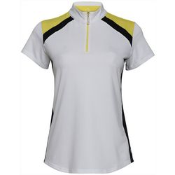 Bette & Court Womens Colorblock Zippered Polo Golf