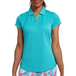 Pebble Beach Womens Layered Solid & Palm Print Polo Shirt