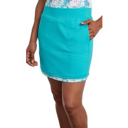 Pebble Beach Womens Layered Solid & Palm Print Skort